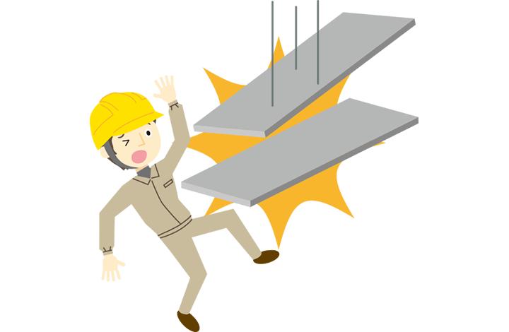 落下物に直撃する人のイラスト
